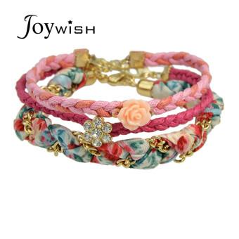 Joywish Bohemian Style Braided Rope Weaved Chain Colorful Rhinestone Bracelets Sets - Intl