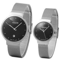 Julius JA - 426 Couple Ultrathin Stainless Steel Mesh Band Quartz Wrist Watch (SILVER) - Intl