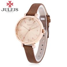JULIUS JA - 886 Women Quartz Watch Artificial Diamond Dial Solid Mirror 3ATM Wristwatch (Coffee)