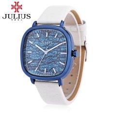 JULIUS JA - 889 Women Quartz Watch Water Resistance Shiny Square Dial Genuine Leather Band Wristwatch