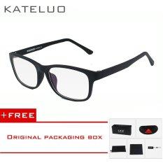 KATELUO TR90 anti-Komputer Biru kelelahan laser radiasi-tahan kacamata kacamata bingkai Oculos di Grau de 9219 (Hitam) [membeli 1 mendapatkan 1 hadiah]
