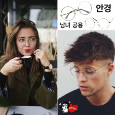 Korea Fashion Style - Kacamata Bulat - Fashion - Unisex - Gold - Clasic Round Glasses