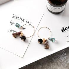Korea Fashion Style kain kristal batu permata bunga telinga cincin logam anting anting