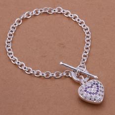 La Vie Sterling Silver Classy Design Inlay Zircon Heart Chain Bracelet (Silver)
