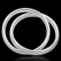 La Vie Sterling Silver Popular Trend Two Circle Bangle Bracelet (Silver)