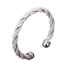 La Vie Sterling Silver Twisted Wire Net Opening Adjustable Cuff Bracelet (Silver)