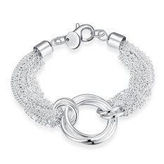 La Vie Sterling Silver Wearing Lines Cross Three Round Style Chain Bracelet (Silver)