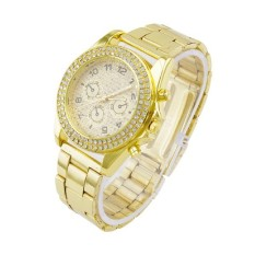 Ladies Set Auger Full Drill Brand Stainless Steel Watch Elegant Crystal Analog Metal Wristwatch Gold (Intl)