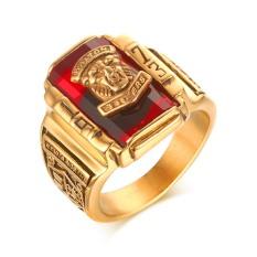 Laki-laki remaja Punk Rock cincin 18 KB emas berlapis besar Merah CZ cincin batu perhiasan kepala singa 1973 Partai untuk orang sekitar
