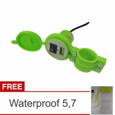 Lanjarjaya USB Charger Motor Waterproof Cas HP di motor - Hijau + Waterproof 5,7