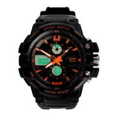 Large Rubber Strap Waterproof Digital Watch Sports Life Luminous Quartz Sports Watch Men 2015 Outdoor Dress Wristwatches For Mountaineer Orange (Intl)