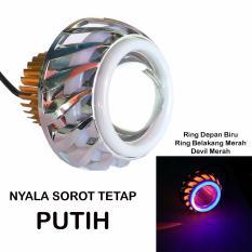 LED Lampu Projector Tipe U14-LP8 / LED Proji Light Angel Eye+Devil Eye / Lampu Proji Ring Biru Devil Merah