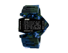 Leegoal Skmei Mens Camouflage Cool LED Sports Wrist Watch (Blue Camo)