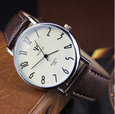 Leisure Business Lovers Table Leather Belt Waterproof Quartz Watch Brown