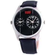 Levi's Time Men's Dual Time LTG2202 - Jam Tangan Pria - Hitam - Kulit
