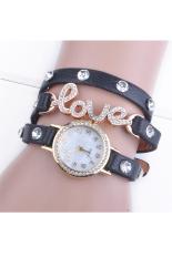 Linemart Love Cz Dial Wrap Around Synthetic Leather Bracelet Wrist Watch (Black) (Intl)