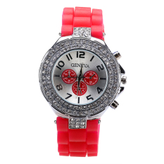 Linemart Student Grils Casual Wristwatch Rhinestone Women Quartz Watch Fashion (Red) (Intl)