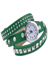 Linemart Women Retro Fashion Rivet Synthetic Leather Strap Bracelet Watch Green (Intl)