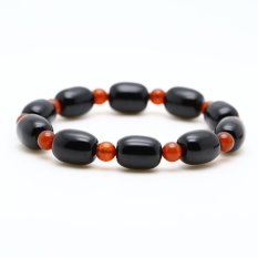 Ling Jing Dian Natural Black Agate Barrel Bead Bracelet Mens Bracelets Female Red Agate Beads Bracelets Crystal Ornaments - Red Agate (Men) (Intl)