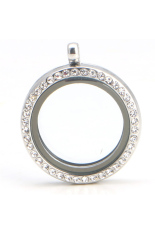 Living Memory Floating Charms Glass Round Locket Crystal Pendant For Necklace (Silver)