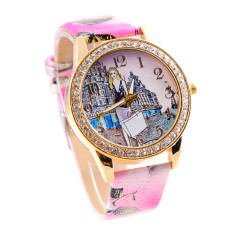 London Style Fashion Girl Colored PU Leather Watch Hot Pink (Intl)