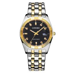 LONGBO Black Waterproof Luxury Stainless Steel Strap Business Watches Quartz Wrist Watch