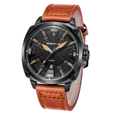 LONGBO Fashion Genuine Leather Strap Mans Sport Watch Military Quartz Watch Watches Wristwatch 93003