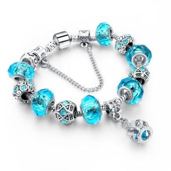 LongWay 2016 New Fashion 925 Silver Charm Bracelet For Women Royal Crown Bracelet Purple Crystal Beads Diy Jewelry - Intl