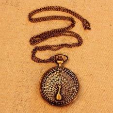 Louiwill Big Peacock Pattern 2015 Retro Vintage Pocket Watch Women Necklace Quartz Alloy Pendant With Long Chain (Bronze) (Intl)