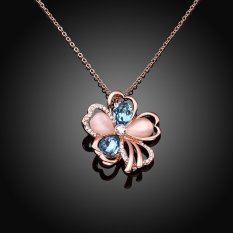 Louiwill ROHS Luxury 18KRGP Crystal Flower Pendant Necklaces Women Gold Plated Fashion Necklace Wedding Party Jewelry Accessories Gift (18K Rose Gold)