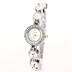 Louiwill Wholesale Luxury Quartz Watch Women Fashion Sliver Promotional Watches Big Diamond Rhinestone Bracelet Watch Women (Silver White) (Intl)