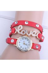 Love Cz Dial Wrap Around Synthetic Leather Bracelet Wrist Watch (Red)