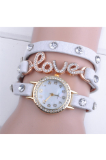 Love Cz Dial Wrap Around Synthetic Leather Bracelet Wrist Watch (White)