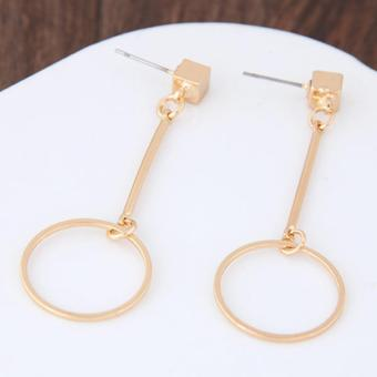 LRC Anting Tusuk Personalized Gold Color Circles Pendant Decorated Pure Color Earrings