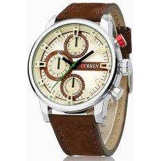 Luxury Curren 8170 Classic Men Silver Watches Military Genuine Leather Wristwatch Mens Quartz Sport Watches