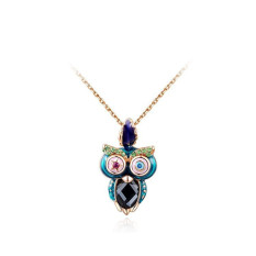 Luxury Elegant Owl Rose Gold Plated Pendant Lady Girls Wedding Gift Jewelry Chain Necklace (Rose Gold Color)