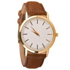 Luxury Fashion Womens Leather Band Analog Quartz Wrist Watch Brown (Intl)