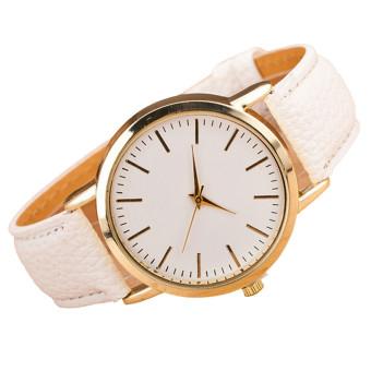 Luxury Fashion Womens Leather Band Analog Quartz Wrist Watch White