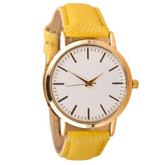 Luxury Fashion Womens Leather Band Analog Quartz Wrist Watch Yellow (Intl)