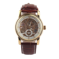 Luxury Gold Watches Men Fashion New Leather Strap Automatic Self-Wind Watches For Men Gold + Brown Brand Watch-ORKINA 003