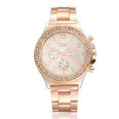 Luxury Ladies Man's Stainless Steel Band Rhinestone Crystal Round Dial Quartz Wrist Watch - Rose Gold
