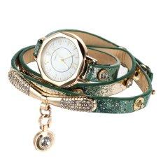 Luxury Leather Bracelet Wristwatch Women Dress Brand Quartz Watch Green (Intl)