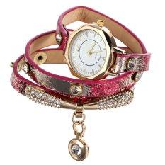Luxury Leather Bracelet Wristwatch Women Dress Brand Quartz Watch Rosered (Intl)