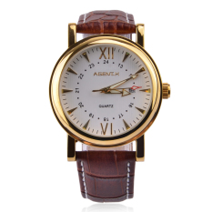 Luxury Luminous Wristwatch Men New Leather Strap Quartz Watches Brown Gold Color Brand Watches Date Display ORKINA 041