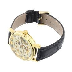 Luxury Men Hollow Skeleton Automatic Mechanical Stainless Steel Wrist Watch Black Band + Gold Dial