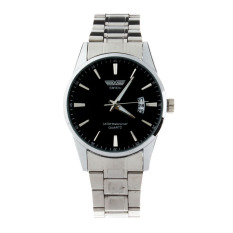Luxury Mens Stainless Steel Band Date Quartz Analog Sport Wrist Watch (Black)