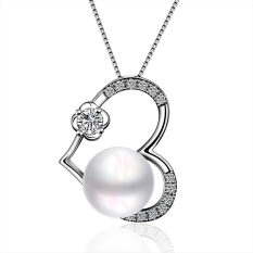 Luxury Pearl Heart Shape Ornate Inlay Platinum Plated Pendant