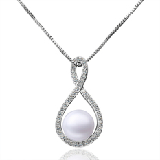 Luxury Pearl Shell Shape Ornate Inlay Platinum Plated Pendant