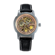 Luxury See Through Mens Golden Skeleton Totem Automatic Mechanical Black Genuine Leather Wrist Watch (Rose Gold)