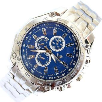 Luxury Stainless Steel Strap Quartz Man Waterproof Business Watch (Blue Dial)